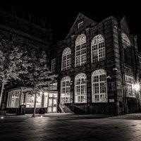 Leek College at night by Chris Maynard